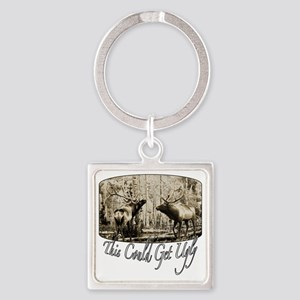 Elk rumble Square Keychain